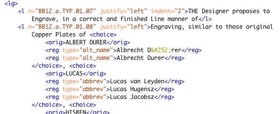 Screenshot of XML for Blake's Chaucer: The Canterbury Pilgrims