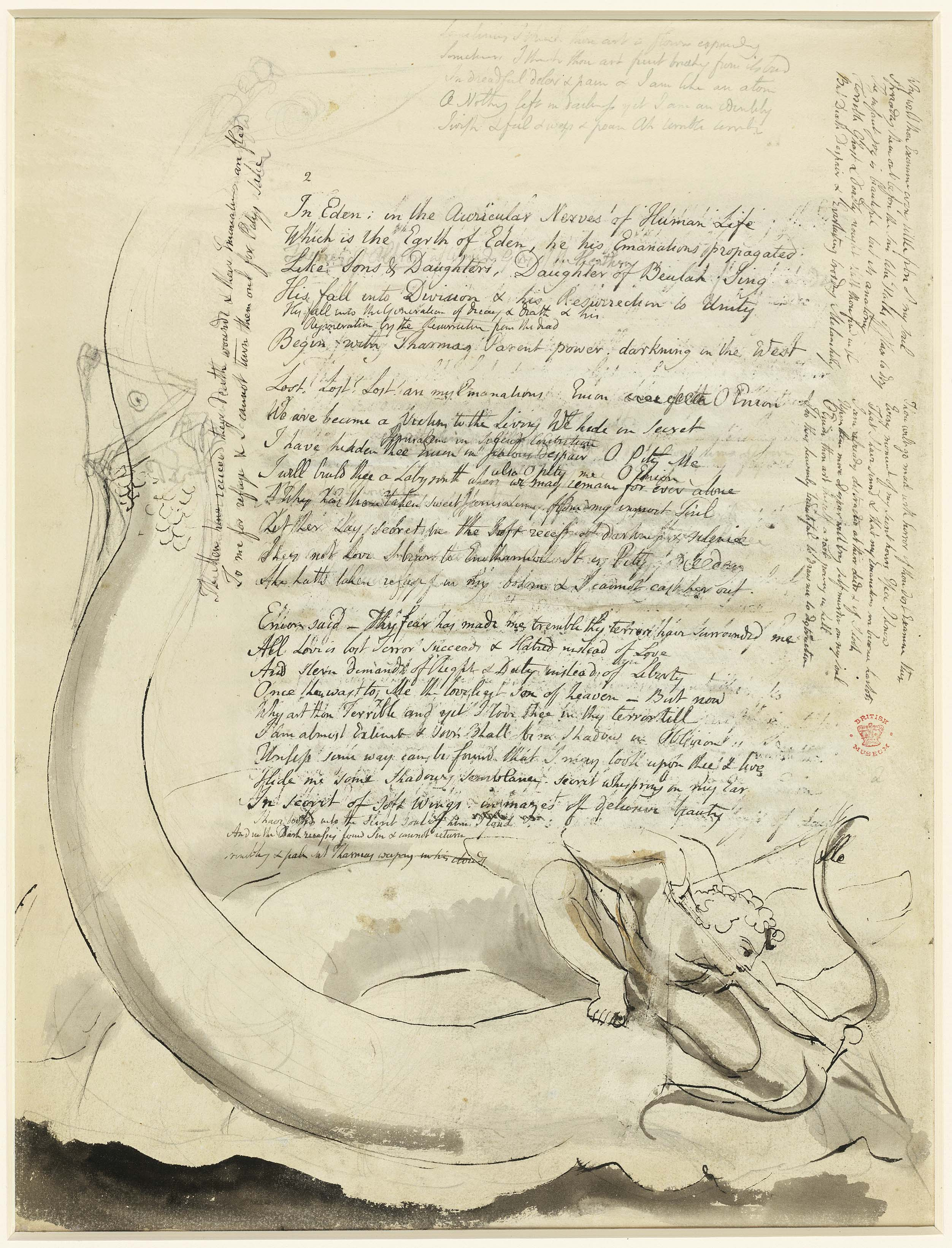 Manuscript page for Vala or the Four Zoas by William Blake.