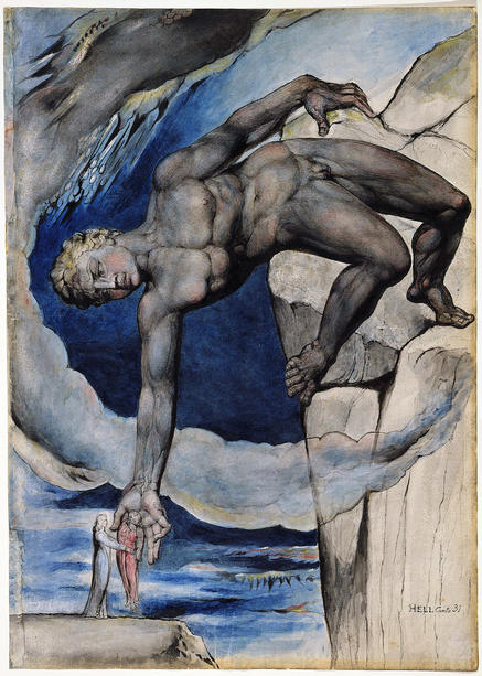 "Illustrations to Dante's Divine Comedy, obj. 66, ""Antaeus Setting Down Dante and Virgil in the Last Circle of Hell"""