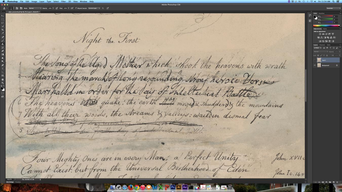 Blake manuscript image in Photoshop.