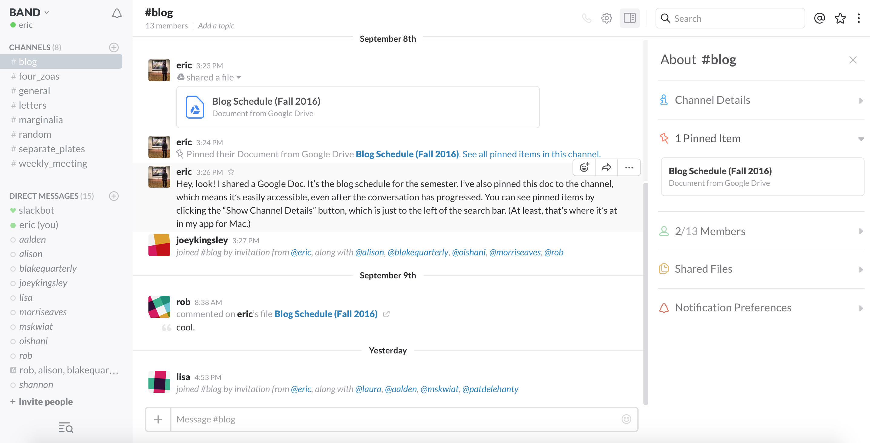 Screenshot of Slack desktop environment.